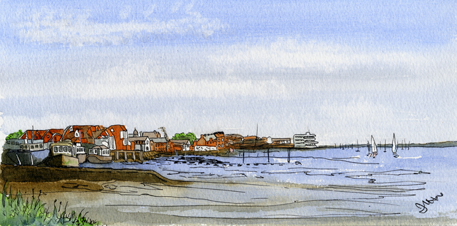 Essex – Barges at Burnham-on-Crouch from the Marina 02 DL Card
