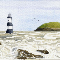 Original Watercolour – Penmon Lighthouse with Puffin Island