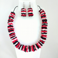 Bold Black, White and Red Felt Necklace