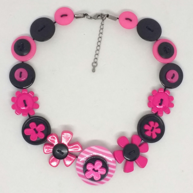 Black and Pink Button Necklace
