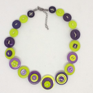 Purple and Lime Fancy Button Necklace