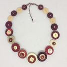 Wine and Cream Fancy Button Necklace