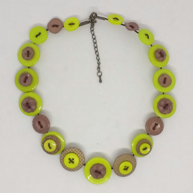 Mink and Lime Fancy Button Necklace