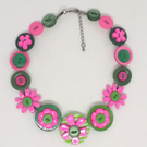 Green and Pink Button Necklace