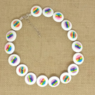 White Rainbow Button Necklace