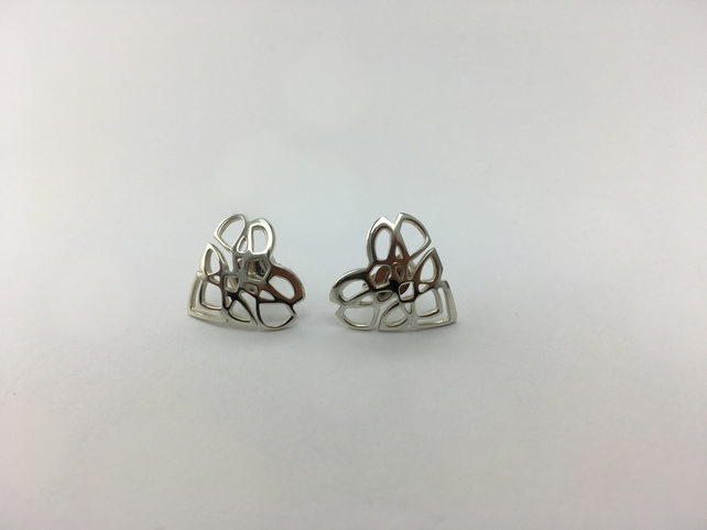 Sterling Silver heart shape stud earrings with a Celtic knot design