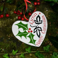 Personalised Holly and Ivy Heart