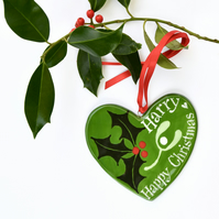 Personalised Holly and Mistletoe Heart