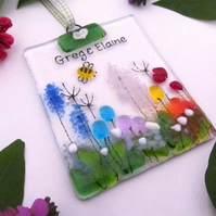 Personalised Rainbow Country Meadow Fused Glass Suncatcher - Made to Order