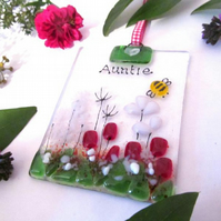 Personalised Country Meadow Fused Glass Suncatcher (Red & Pink) - Made to Order