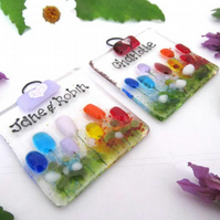 Mini Personalised Fused Glass Suncatcher (Rainbow Meadow) - Made to Order