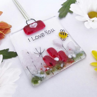 Personalised MINI Country Meadow Fused Glass Suncatcher - Red & Pink