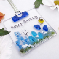 Personalised MINI Country Meadow Fused Glass Suncatcher - Blue