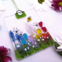 Rainbow Country Meadow Fused Glass Suncatcher