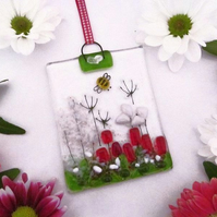 Country Meadow Fused Glass Suncatcher (Red & Pale Pink)