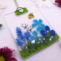 Country Meadow Fused Glass Suncatcher (Blue & Turquoise)