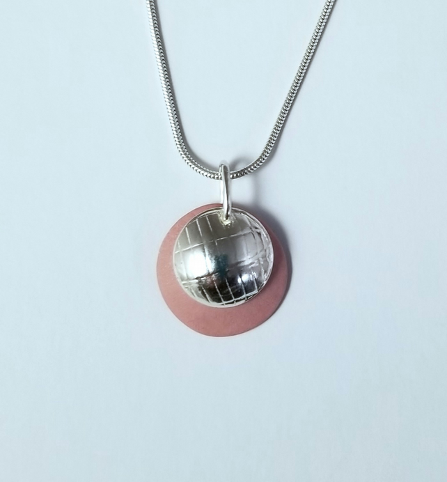 Sterling Silver Pink Porcelain Ceramic Texture Dome Pendant Necklace 16 inch