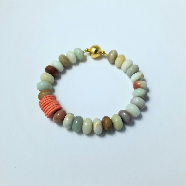 Bracelet CHOOSE Colour Amazonite Rondelle Natural Gemstones, Porcelain 3 UK post