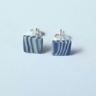 Earrings CHOOSE COLOUR square ceramic, brown, blue, white, green, grey 3 UK post