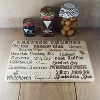 British Cheeses - Laser Engraved Wooden Cheese or Chopping Board