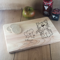 Daisy Mouse and Cat - Laser Engraved Wooden Cheese or Chopping Board