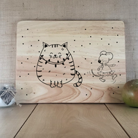 Smug Kitty! - Laser Engraved Wooden Cheese or Chopping Board