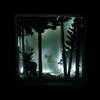 Winter Stag and Deer Scene - 3D Light Picture