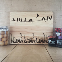 Bird on a Wire - Laser Engraved Wooden Cheese or Chopping Board