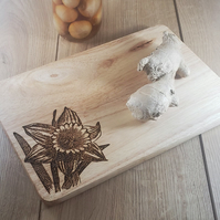 Daffodils - Laser Engraved Wooden Cheese or Chopping Board