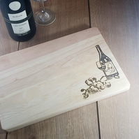 Anyone for Wine? - Laser Engraved Wooden Cheese or Chopping Board