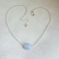 Gorgeous Blue Lace Agate Bead Choker Necklace.