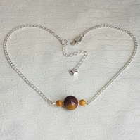 Gorgeous Mookaite Three Bead Choker Necklace.