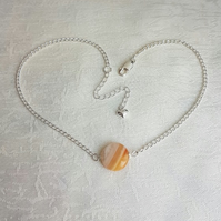 Gorgeous Light Orange Striped Agate Choker Necklace.