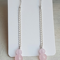 Gorgeous Rose Quartz Dangly Chain Earrings.
