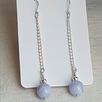 Gorgeous Blue Lace Agate bead Dangly Earrings.
