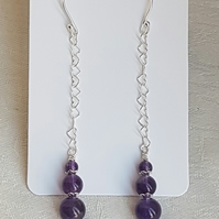 Gorgeous Amethyst beads and Heart Chain Dangly Earrings.