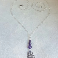 Gorgeous Amethyst Bead, Heart Charm & Chain Necklace.