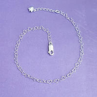 Fabulous Sterling Silver Heart chain Anklet.
