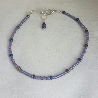 Pretty Purple Small Bead Anklet.
