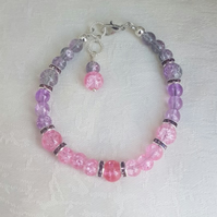 Gorgeous Lilac and Pink Glass Bead Bracelet.