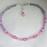 Gorgeous Lilac and Pink Glass Bead Choker Necklace.