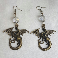 Gorgeous Large Dragon charm Earrings - Mixed Tones.