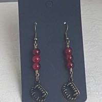 Might Bite Vampire Fang Red Bead Earrings - Dark Tones