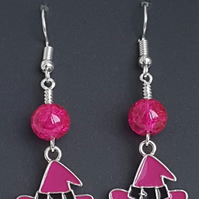 Gorgeous Pink Witches Hat Earrings.