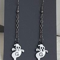 Small Ghost Charm Dangly Earrings - Dark Metal tones