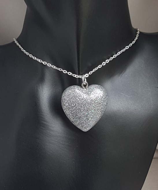Gorgeous Sparkly Silver Resin Glitter Heart Pendant on Chain - Silver Tones