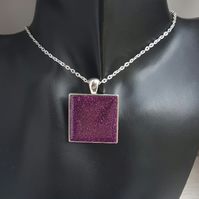 Gorgeous Glittery Purple Resin Square Pendant on Chain - Silver Tones