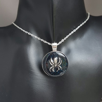 Spiders from Outer Space Round Pendant - Silver Tones