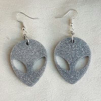 Sparkly Silver Alien Head Earrings
