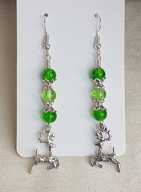 Festive Green Glass Earrings with Reindeer Charms.